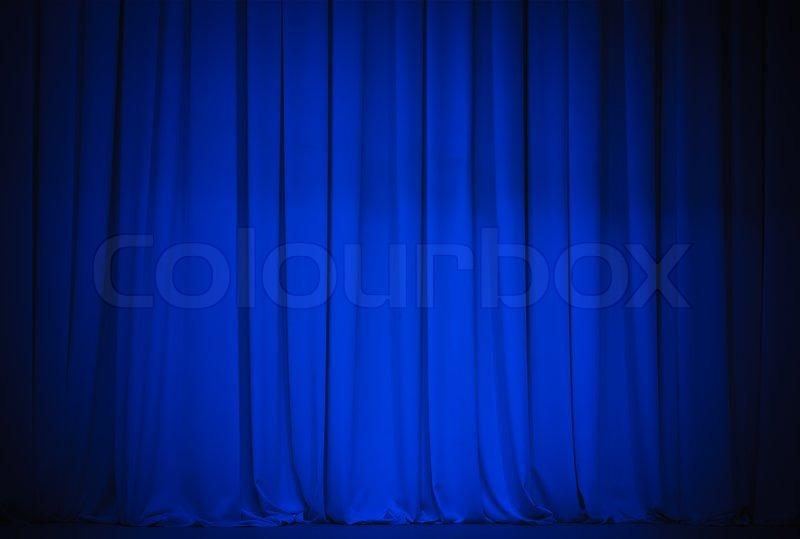 Theatre blue curtain, stock photo
