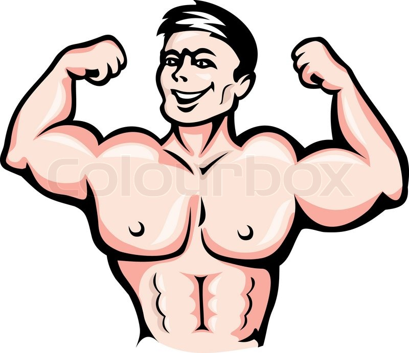Strong Athlete With Muscles In Cartoon Style For Sports