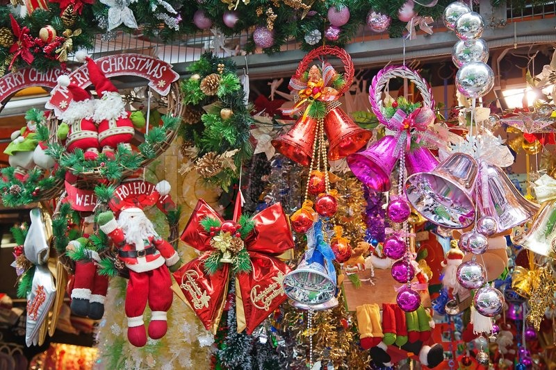 Christmas tree decorations in the shop   Stock Photo   Colourbox