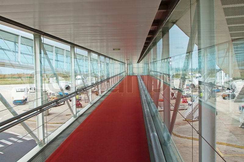 Entrance To The Airplane In A Modern Airport