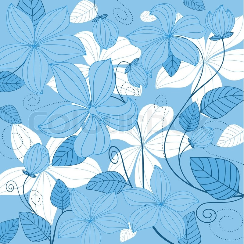 Blue floral background for textile or invitation card ...