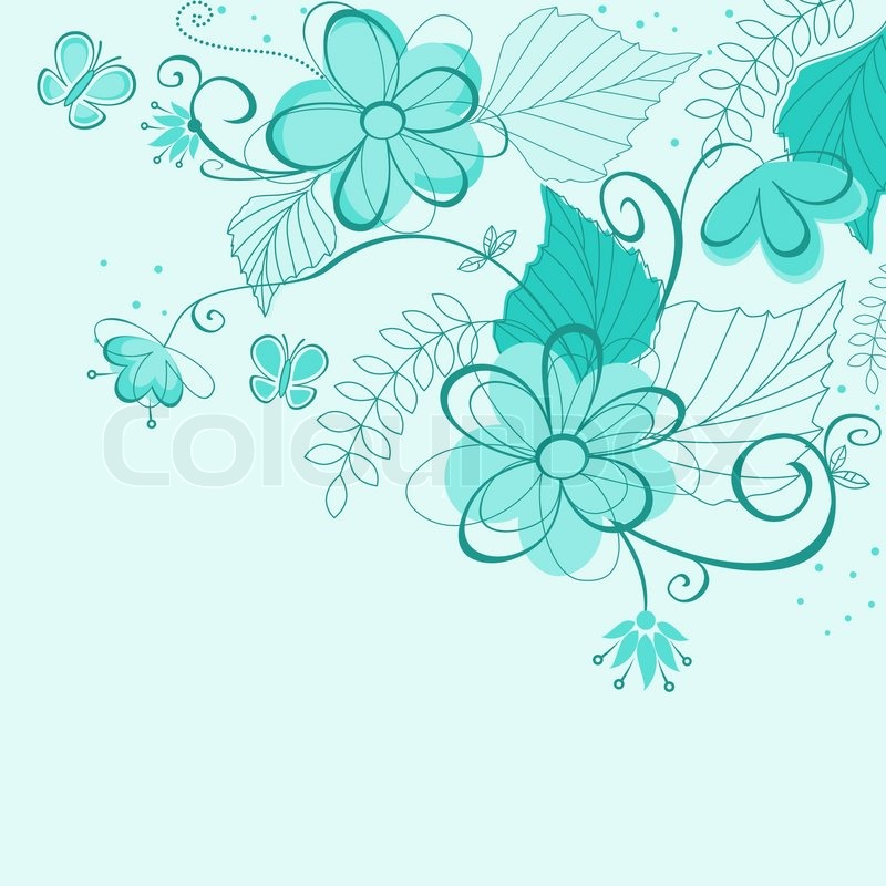 Blue Abstract Floral Background For Stock Vector