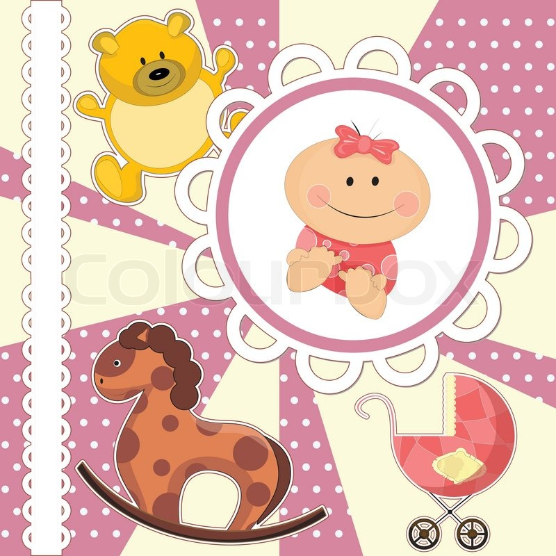 Baby Shower Wiki: Scrapbooking Card For Baby Girl With Toys