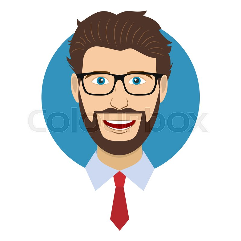 Man Character Face Avatar In Glasses. Modern Colorful