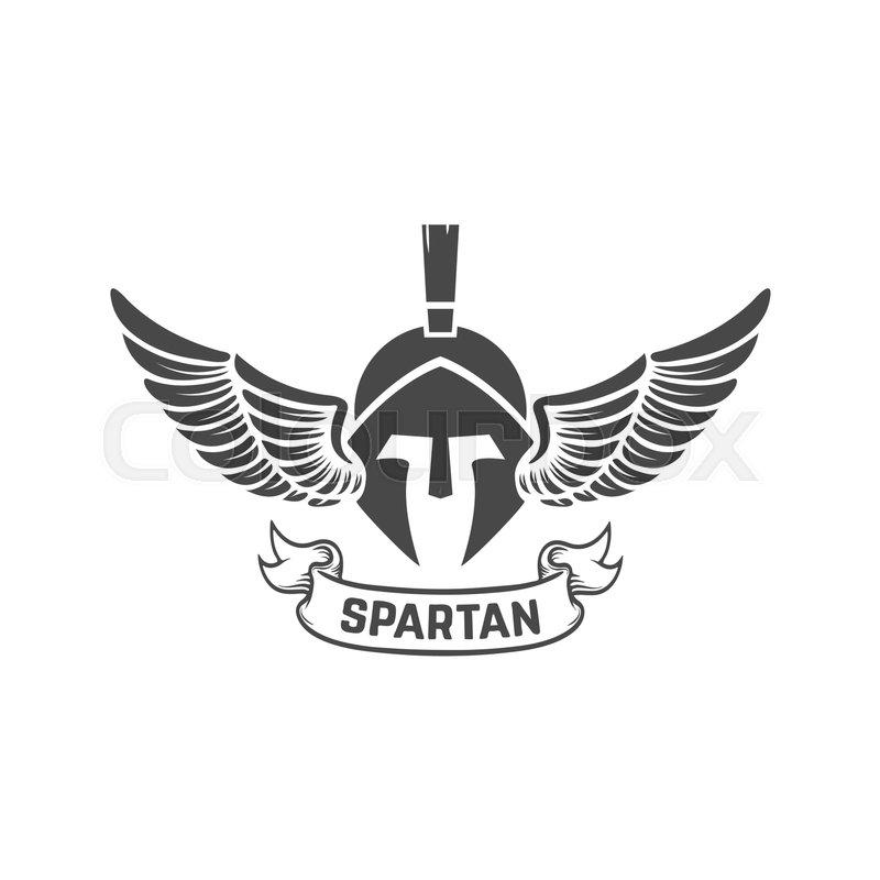 spartan helmet military emblem design element for logo label