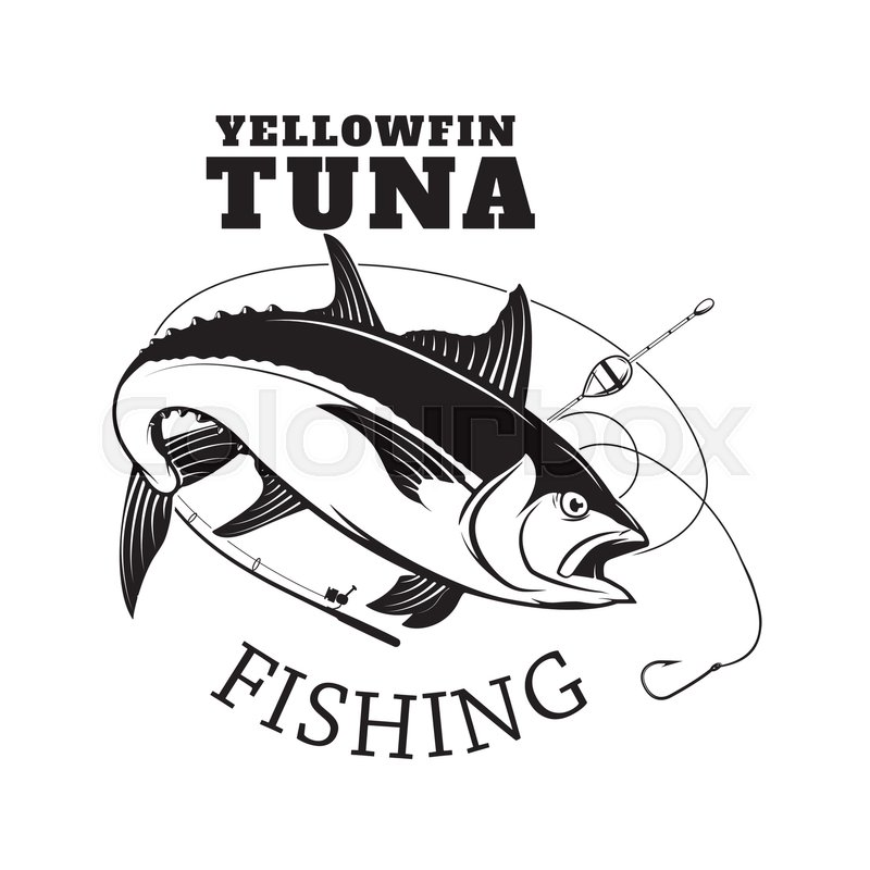 Tuna fishing emblem. Design element for logo, label, emblem, sign ...