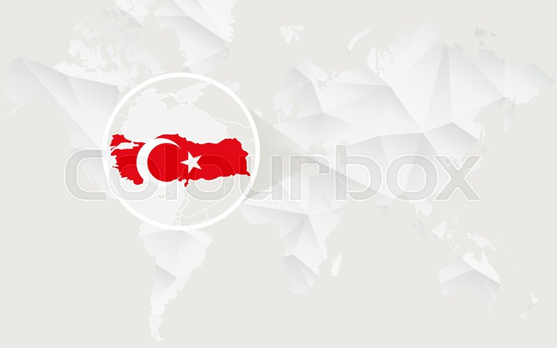 Turkey map with flag in contour on ... | Stock vector ...