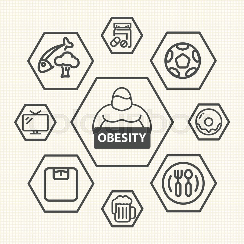 Obesity Icons Set Vector Icons