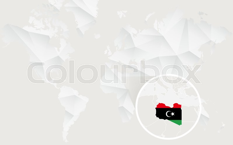Libya map with flag in contour on white polygonal world map vector libya map with flag in contour on white polygonal world map vector illustration vector freerunsca Choice Image