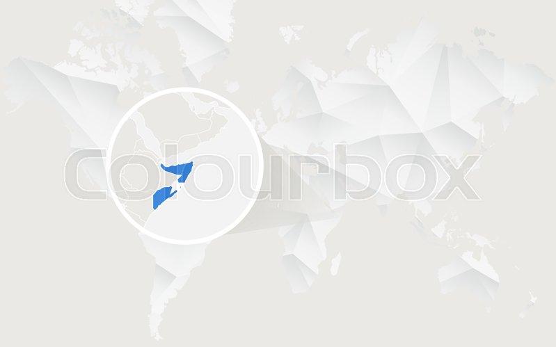 World Map Somolia.Somalia Map With Flag In Contour On White Polygonal World Map