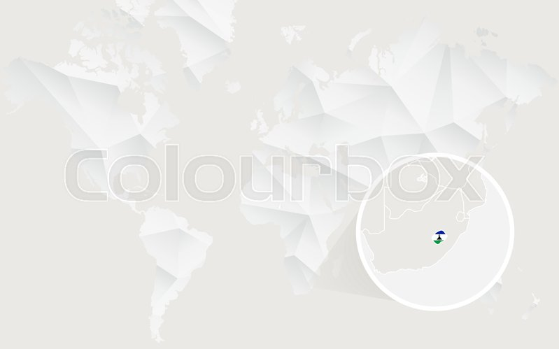 Lesotho map with flag in contour on white polygonal world map lesotho map with flag in contour on white polygonal world map vector illustration stock vector colourbox gumiabroncs Images