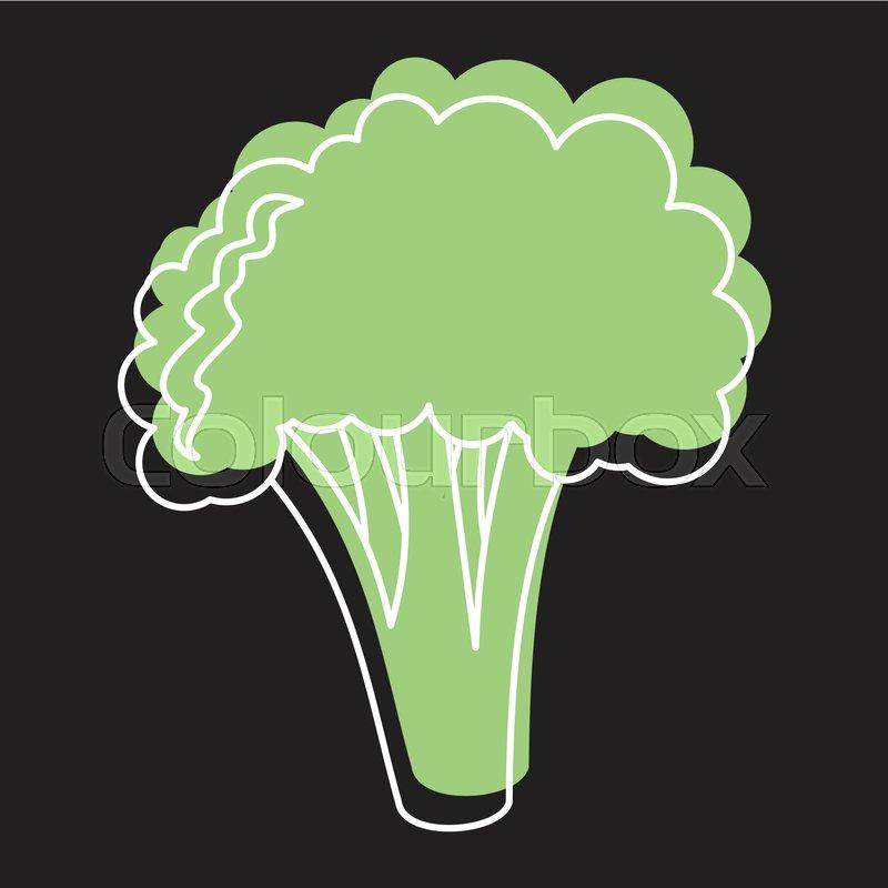 green broccoli doodle icon vector stock vector colourbox colourbox
