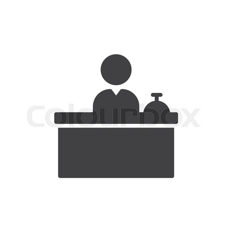 Front Desk Icon Vector Filled Flat Stock Vector