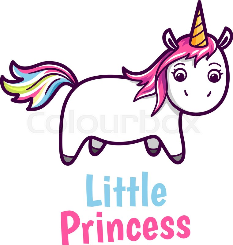e2364f41b Cute unicorn with rainbow color hairs. ... | Stock vector | Colourbox