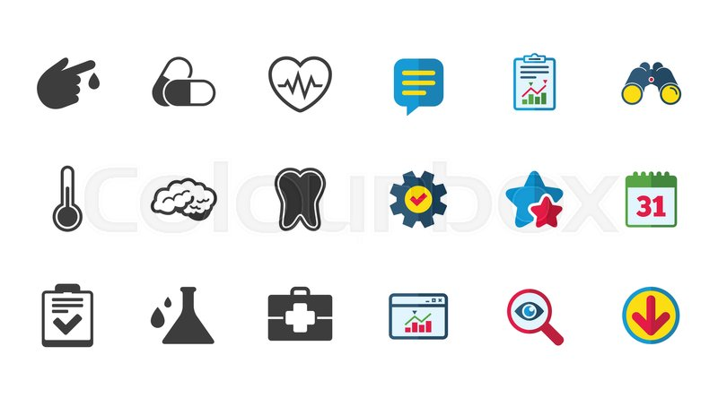 Medicine Healthcare And Diagnosis Icons Tooth Pills And Doctor