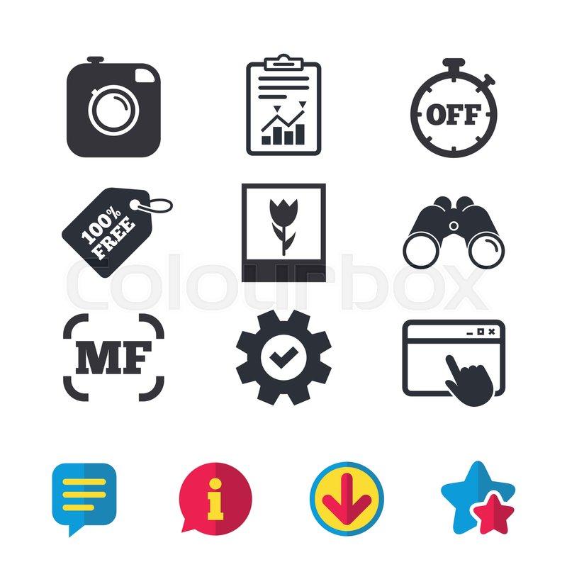 Hipster Retro Photo Camera Icon Manual Focus Symbols Stopwatch