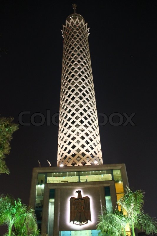 Stock image of 'Cairo Tower by night, Egypt'