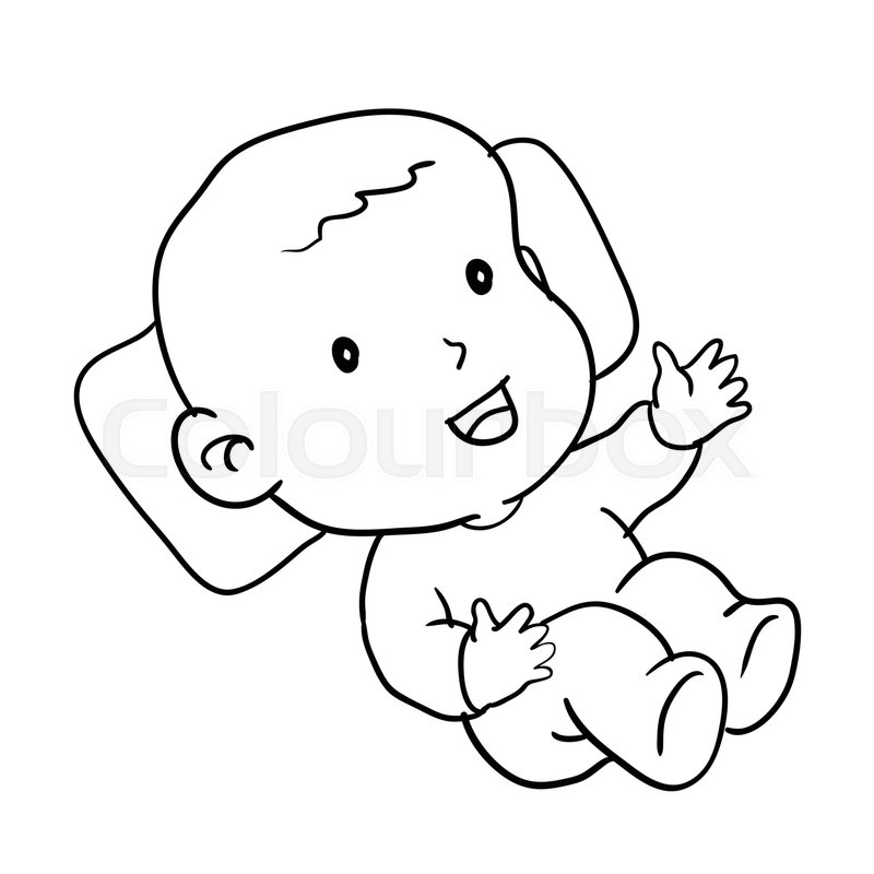 Line Drawing Baby : Hand drawing of loughing baby isolated on white background