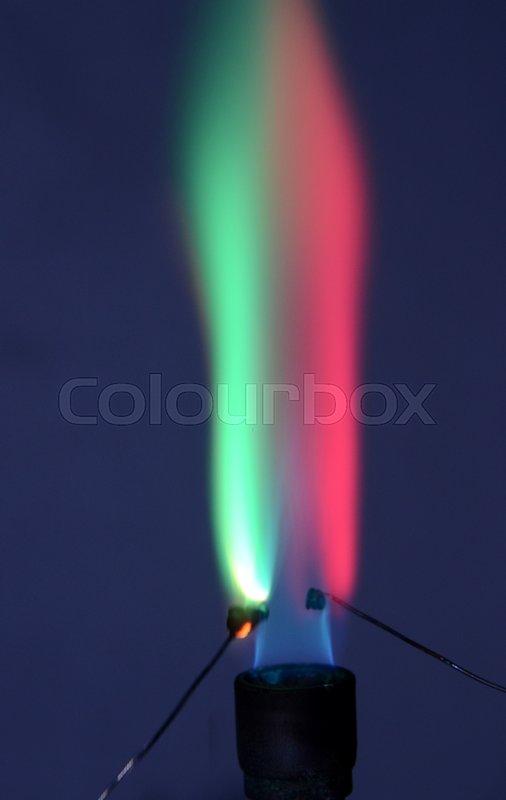 Dobbeltfarvet ild forårsaget af to forskellige grundstoffer. Litium forårsager en karmin rød ...