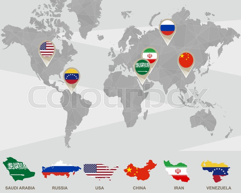 World map with Saudi Arabia, Russia, USA, China, Iran, Venezuela ...