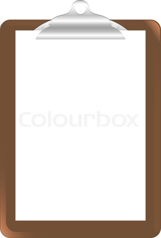 Wood Clipboard Base With Metal Ball Dog Clip And White Blank Paper – Blank Paper Background