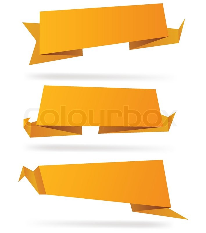 HighDetailed Paper Origami Label Vector Eps  Stock Vector