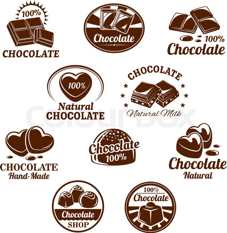 Chocolate desserts and choco candy bars icons. Vector isolated set ...
