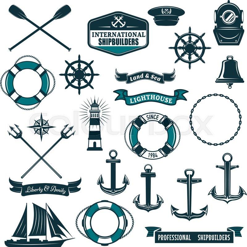 Marine Navy And Nautical Heraldic Icons Set Vector Crossed Paddles