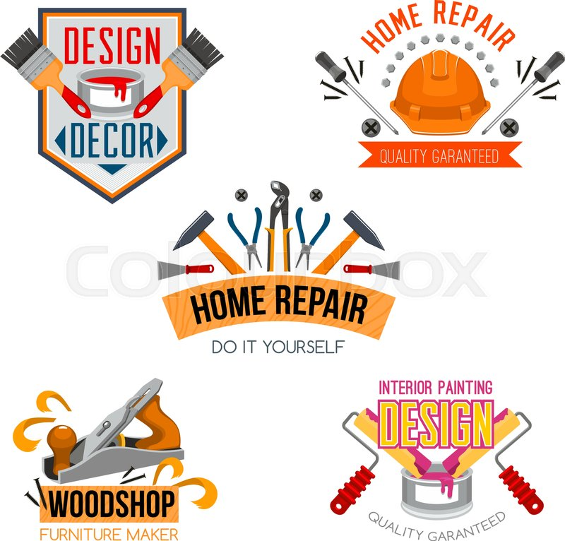 Work tools icons set for home design and house repair. Vector ...