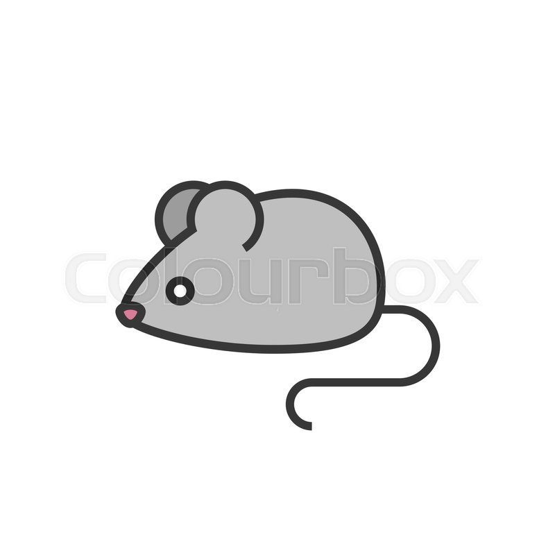 rat or mouse outline icon with fill colour stock vector colourbox - Fill The Colour In Pictures