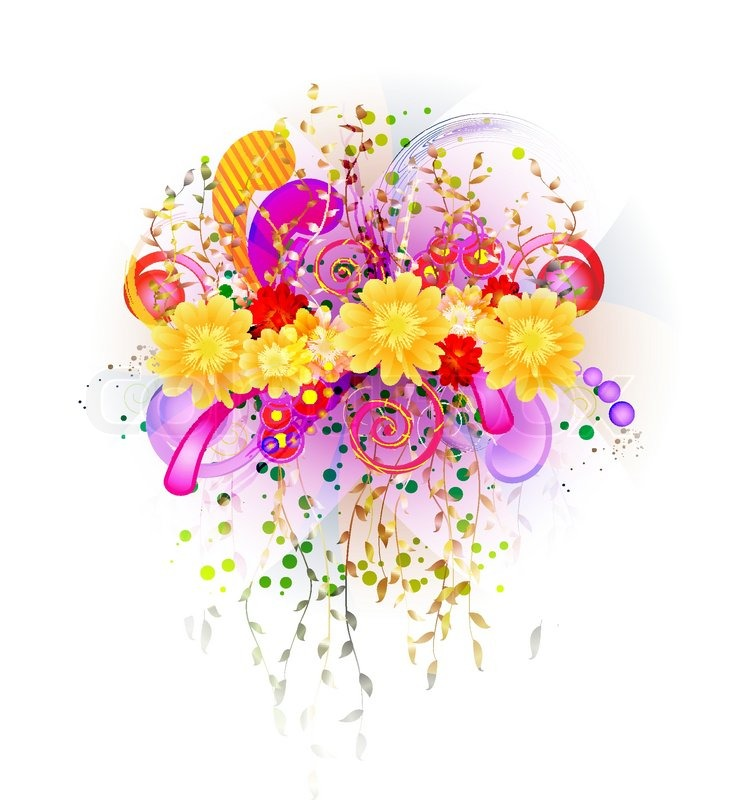 Vector Floral Background With Transparent Decorative