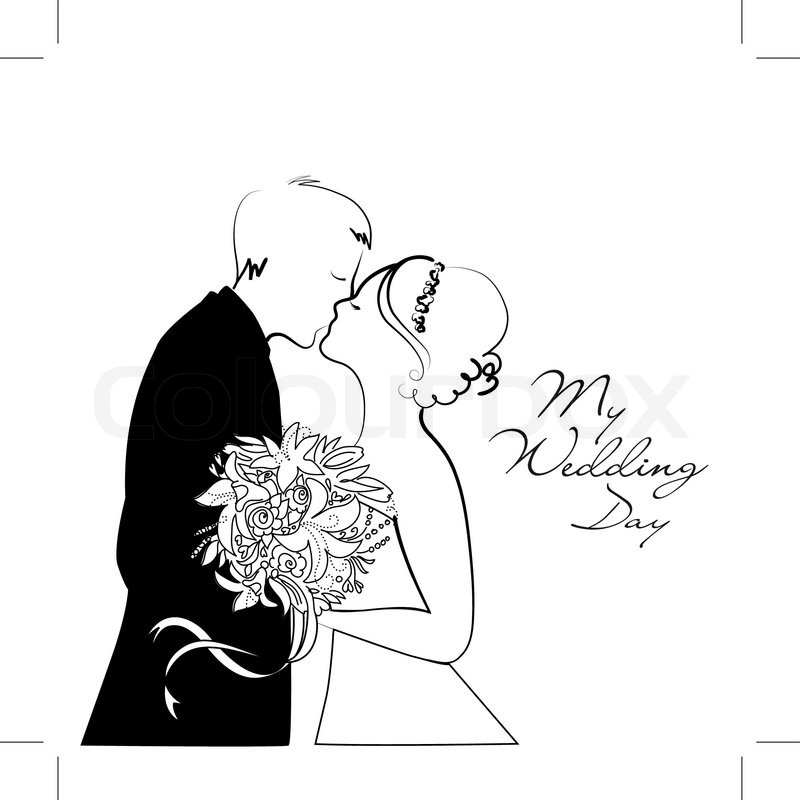 Wedding Hair Style Black Vector Art: Black And White Wedding Background