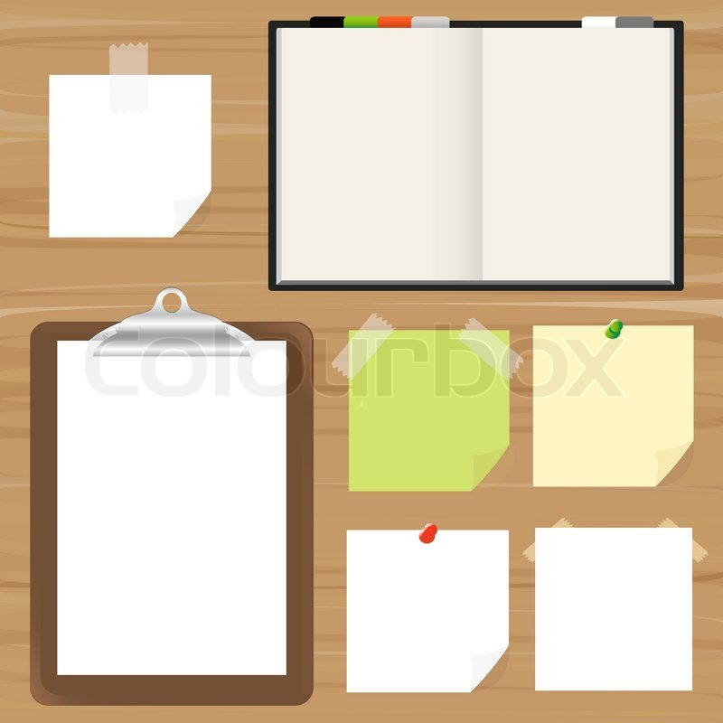 Blank Pages Clipboard And Reminder Note Vector Illustration – Reminder Note Template