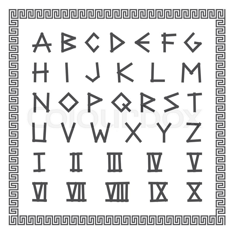 Greek Font Vector English Alphabet Ancient Latin Letters With Roman Numerals