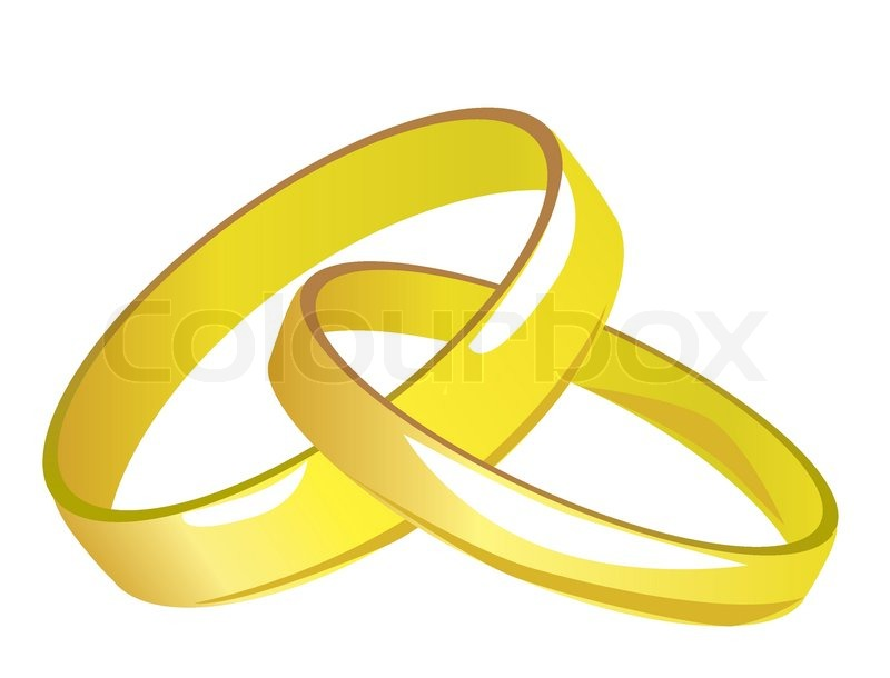Two linked gold wedding rings Vector illustration Stock Vector