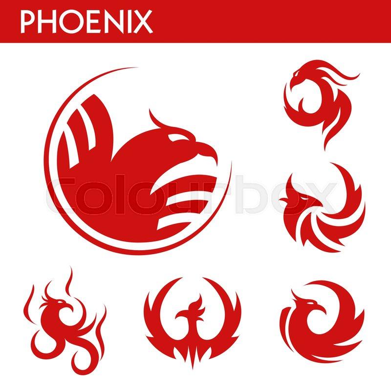 Phoenix Bird Red Logo Templates Set Mythic Firebird With Spread