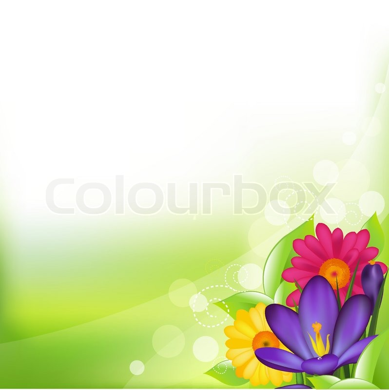 Green Background With Spring Flower, ...