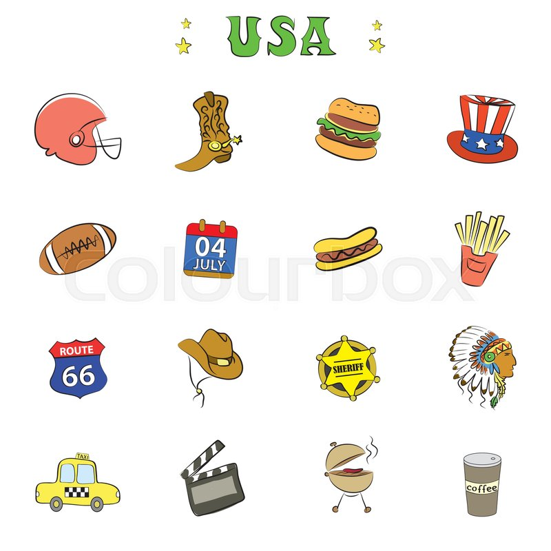 American Culture Icons Or Objectsdoodle Vector Illustration Stock