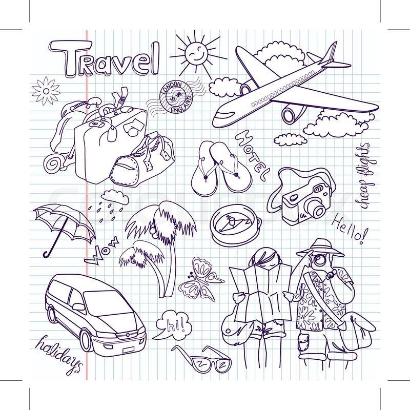 Home Design Ideas Buch: Hand Gezeichnet Reise Doodles Vektor-Illustration
