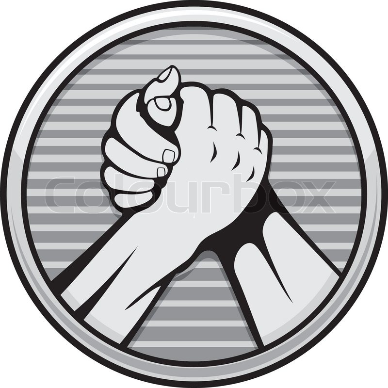 Two Hands Icon In Arm Wrestling Gray Round Medal Isolated On White