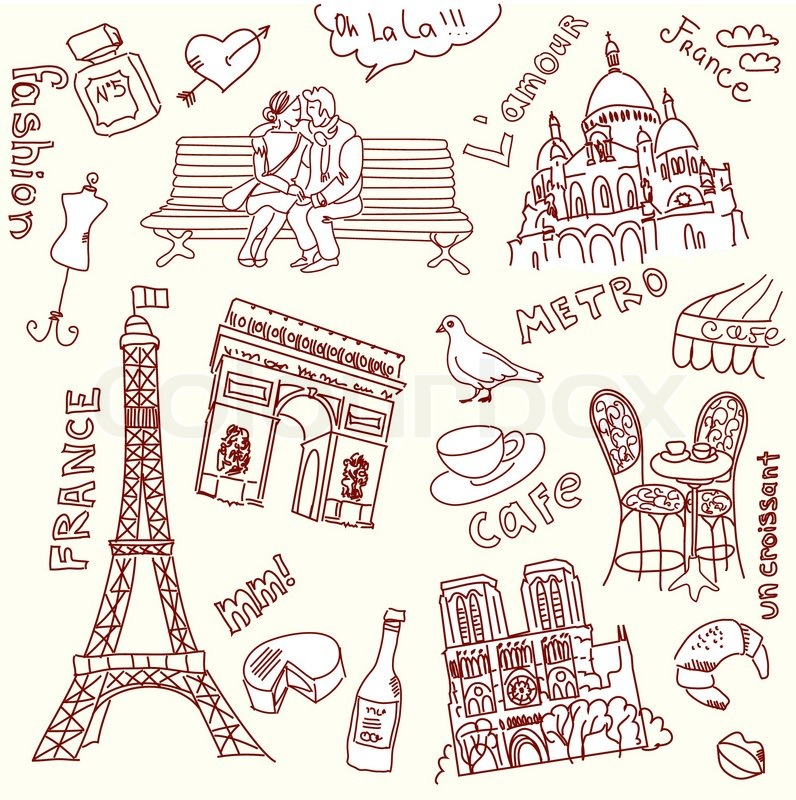 Love In Paris Doodles Stock Vector Colourbox