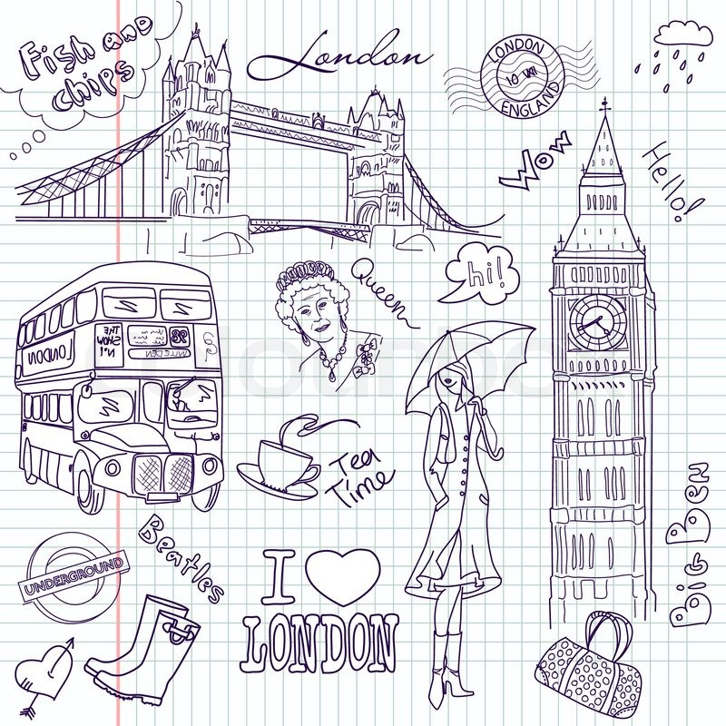 London Doodles Stock Vector Colourbox