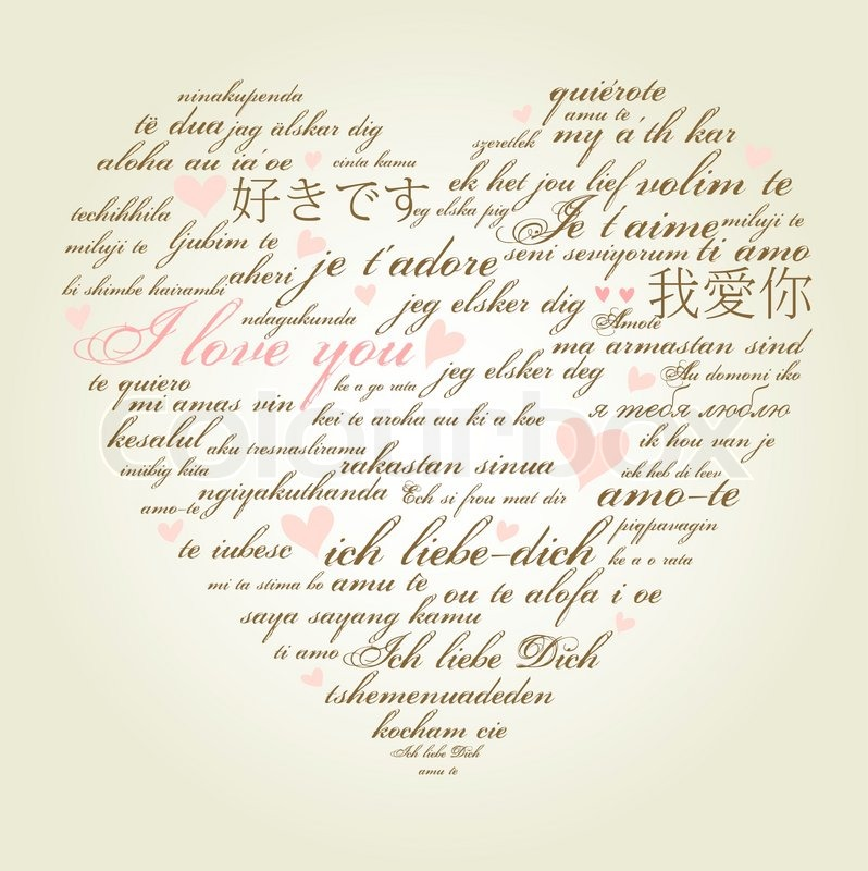 Pictures  Words on Stock Vector Of  A Heart Made Of Words  I Love You  In Many Languages