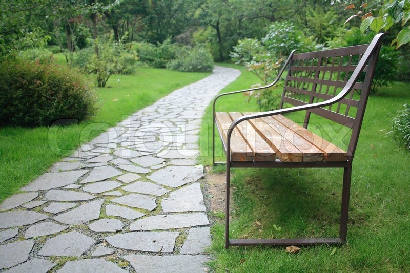 Bench In The Park With The Nice Path Stock Photo Colourbox