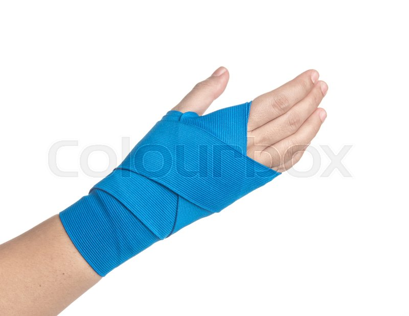 Hand Wrapped In Elastic Bandage On Stock Image Colourbox