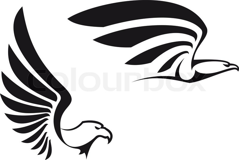 Black eagles isolated on white background for mascot or emblem design stock vector colourbox