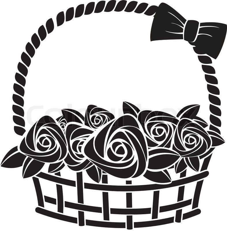 Gift basket with roses abstract vector illustration