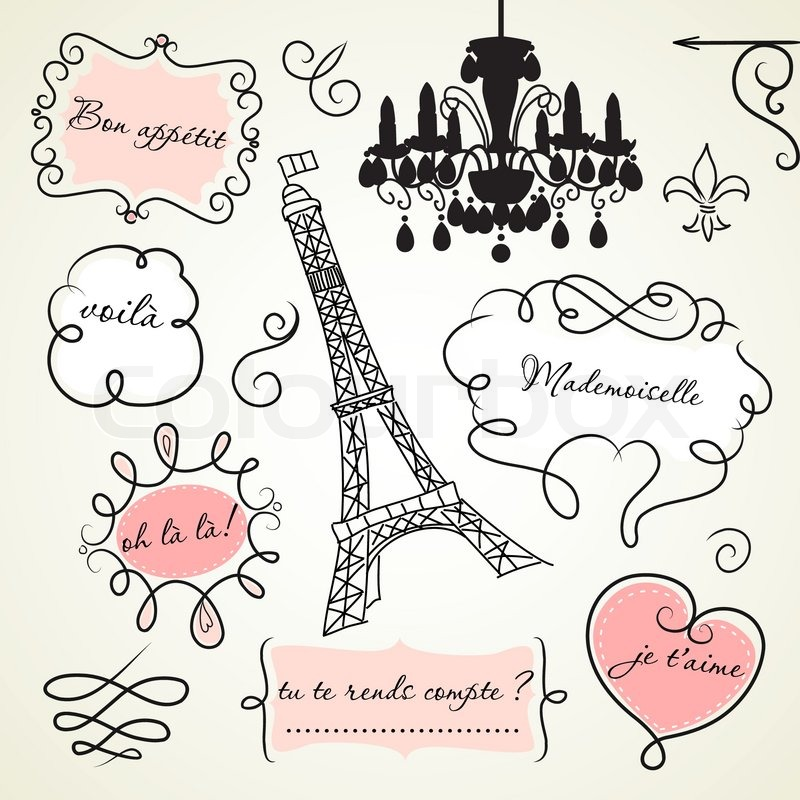 Doodle -Frames in Französisch-Stil | Vektorgrafik | Colourbox