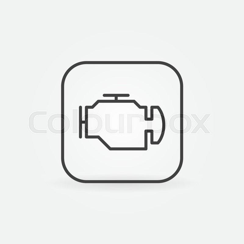 Check Engine Outline Icon Vector Car Diagnostic Concept Symbol In
