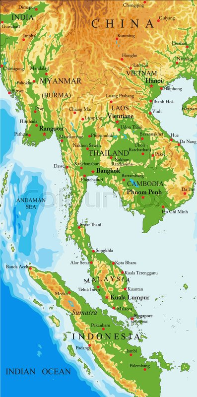 Highly Detailed Physical Map Of Indochina,in Vector Format,with All The  Relief Forms,countries And Big Cities. | Stock Vector | Colourbox